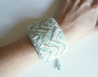 SALE!! Handwoven Aqua and White, Beaded Chevron Cuff Bracelet (original price: 42.00)