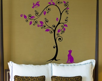 Wish I Could Fly Cat and Bird Vinyl Wall Decal