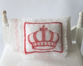 Red Crown Mini Pillow  Embroidered on White Cotton - Shabby Chic French Cottage