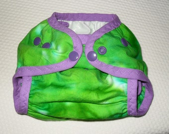 Green Tie Dye one size PUL diaper cover