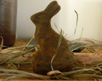 Blackened Beeswax Bunny on Basket  #002