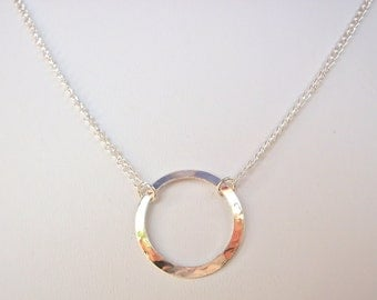 Silver circle necklace, minimalist hammered O ring simple jewelry