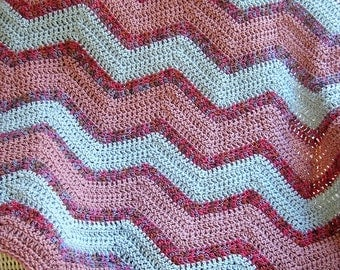 new chevron zig zag baby blanket afghan wrap crochet knit lap robe wheelchair ripple stripes VANNA WHITE yarn pink blue multi handmade USA