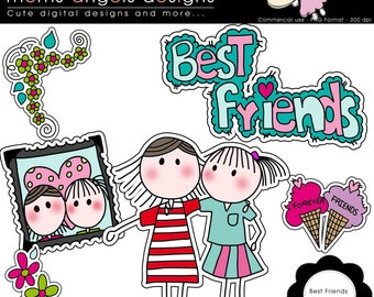 Best Friends Cliparts - COMMERCIAL USE OK