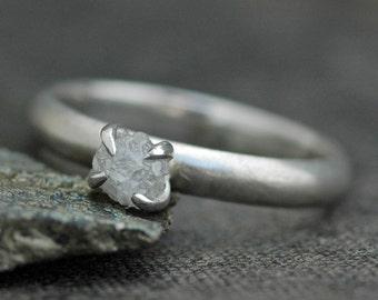 Prong-Set Rough  Diamond Stacker Ring in 14k White or Yellow Gold- Size B Diamonds