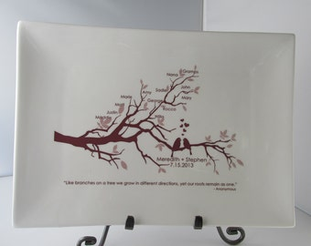 Wedding Family Tree Platter with Lovebirds--Bride and Groom Personalized Wedding Gift for Parents