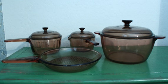 Set of 7 Corning Ware Vision Ware Amber Skillet Fry Pan & Pots with Lids USA