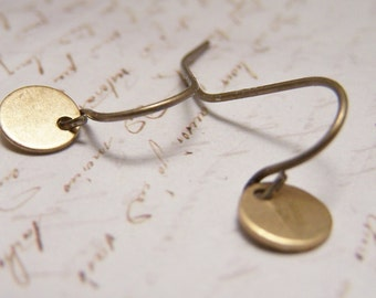 Tiny Brass Sequin Earrings. simple. delicate. minimalist