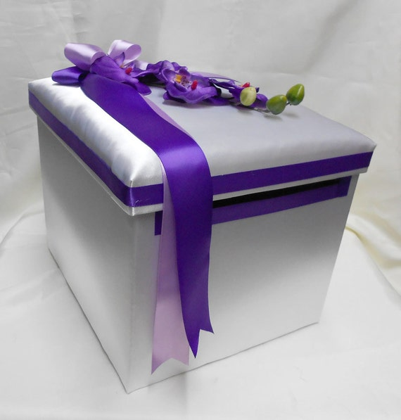 Wedding Reception Gift Card Boxes : Wedding Reception Orchid Gift Card Money Box Purple Lavender