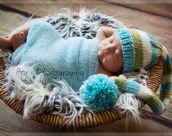 Baby Tail Pom Hat, Newborn Photo Prop, knit, sweet pea green, light aqua blue, white