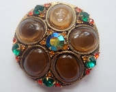 Vintage Domed Brooch with Oval Glass Cabochons Green Orange Rhinestones