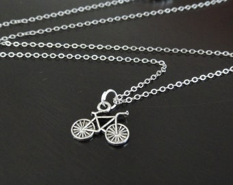 Mini Antique Silver Bicycle Necklace
