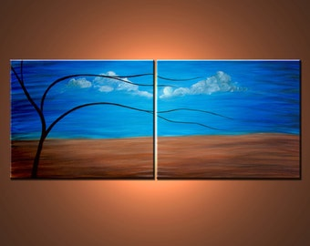 """Original Painting. Abstract Contemporary Landscape Painting. """"CALM"""". Free Shipping inside US."""