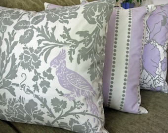 "Decorative Pillow Covers, Set of Three 18"" x 18"",  Storm Gray, White & Lavender, Bird Motif, Stripes and Floral"