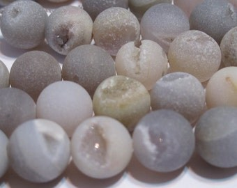 10mm Druzy type round beads matte natural dove gray color 10mm