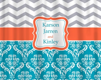 Personalized Shower Curtain -Chevron and Damask Shared Curtain- Available any color