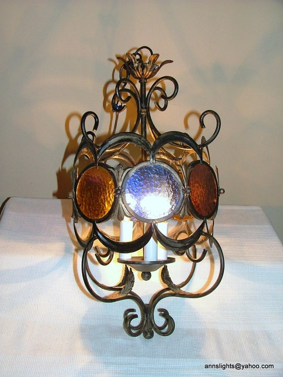 Vintage Pendant Light Fixture Stained Glass Hanging Ceiling