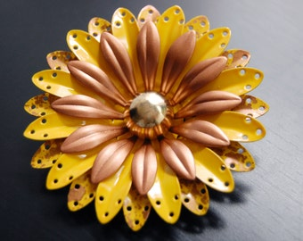 Sunny Golden Copper and Yellow Vintage Enamel Flower Pin