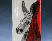 Hand Painted Red Kangaroo Portrait Wall Tile Coral Red