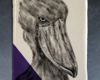 Hand Painted Shoebill Stork Portrait Wall Tile Amethyst Purple