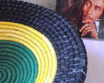 Marley - Round Coiled Fabric Basket - Black, Yellow and Green Catchall, Handmade by Me