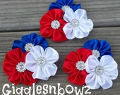 Set of THREE PeTiTe Embellished Satin CLuSTeR Flowers- 4th of JuLY- NEW  2.5 inch Size