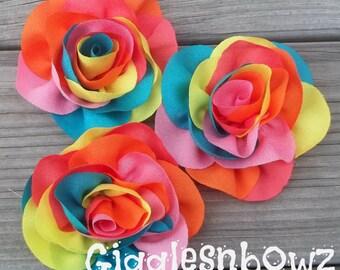 SALE!! RAiNBoW FLoWeRs- Set of 3 Fun Colorful Rainbow Chiffon Flowers- 3.5 inch
