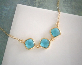 Teal Diamond Necklace, Gold Necklace, Bridesmaid Necklace, Best Friend Birthday, Anniversary Gift