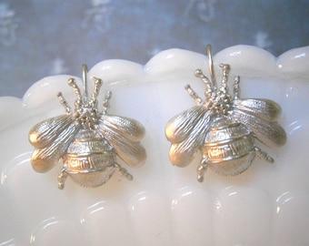 Silver Bee Earrings, Bee Earrings, Insect Earrings