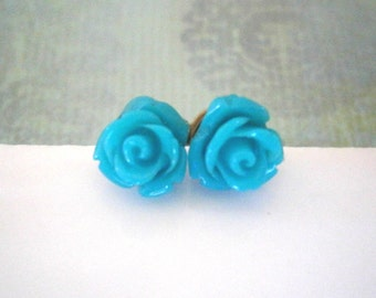 Jewelry Sale - Turquoise Rose Earrings, Flower Earrings, Post Earrings, Flower Girl Gift, Best Friend Birthday, Gifts Under 10