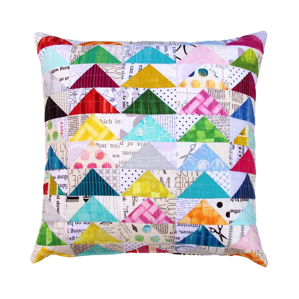 Modern Pillow Covers Etsy : Modern Patchwork Pillow Cover by redpepperquilts on Etsy