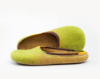 Green birch Felted wool slippers Handmade to Order