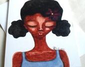 Afro Caribbean Greeting Card - 'Purple Daisy'