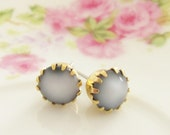 Gray Post Earrings Vintage Glass Jewel in Tiffany Brass Setting Surgical Steel, Wedding, Bridal, Bridesmaid, Preppy