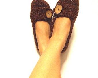 Crochet Slippers Women, Ballet Flats, House Shoes