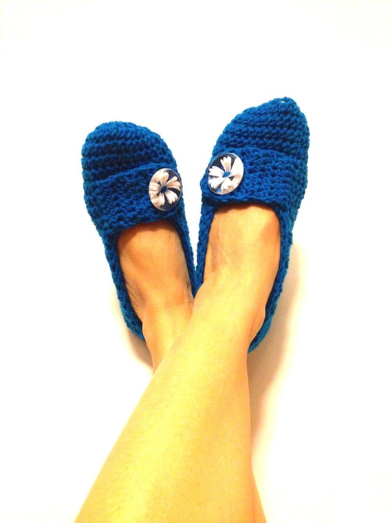 Blue Sapphire Indigo With White Flower Button Crochet Womens Slippers, Ballet Flats, House Shoes