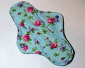 Mama Cloth Reusable Menstrual Sanitary Pad with PUL lining blue with pink and lavender floral print - size S/M