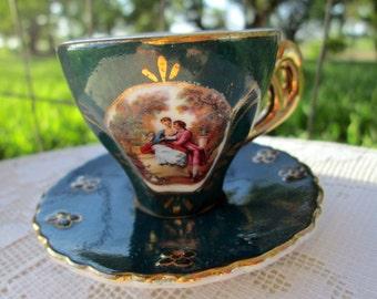Vintage Teacup Tea Cup and Saucer Demitasse Victorian Portrait DECORATIVE only