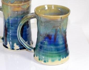 10 oz Mug Ceramic Stormy Blue and Green Ceramic Mug Large