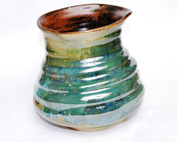 Reserved for Gail-Turquoise Abstract Waterfalls Utensil Pot or Vase- Household - Kitchen