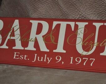 Custom Family Name Sign; Wedding Gift; Bridal Shower Gift; Anniversary Gift; Established Name Sign