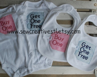 "Bib and Onesie Set for Twins - ""Buy One"" and ""Get One Free"""