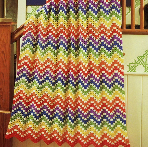 INSTANY DOWNLOAD PDF Vintage Crochet Pattern  for Rainbow Ripple Striped Afghan Blanket Throw  Retro