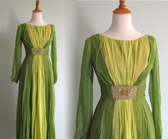Vintage 1960s Dress - Apple Green and Chartreuse Two Tone Chiffon Evening Gown with Jeweled Waist - 60s Chiffon Hostess Gown S M