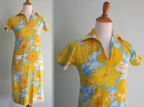 Vintage 1960s Dress - Lilly Pulitzer Yellow Floral Knit Dress - 60s Designer Tennis Dress XS S