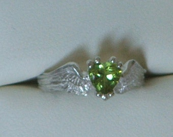 HEARTBEAT Remastered Sterling Silver and Peridot Angel Fairy Wings With a Heart Ready to Ship Size 6 1/4