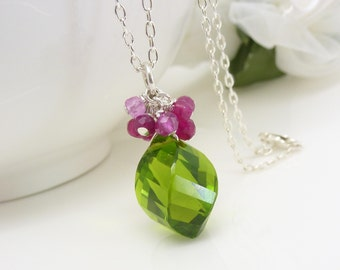 Sterling silver bright pink and Lime green necklace, Pink and Green quartz cluster necklace