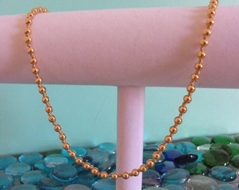 Gold Bead Necklace - 5mm Gold Bead w/Gold Knot Necklace
