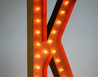 """Letter K - 36"""" Vintage Marquee Lights"""