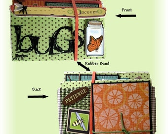 Mini Album, Book about Bugs, Accordian Booklet, Fits in a pocketbook, Wallet sized photos, Boy or Girl Scrapbook